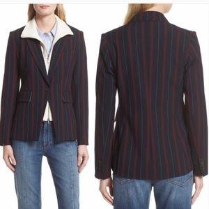 Veronica Beard Dickey Carter Cutaway Striped Jacket